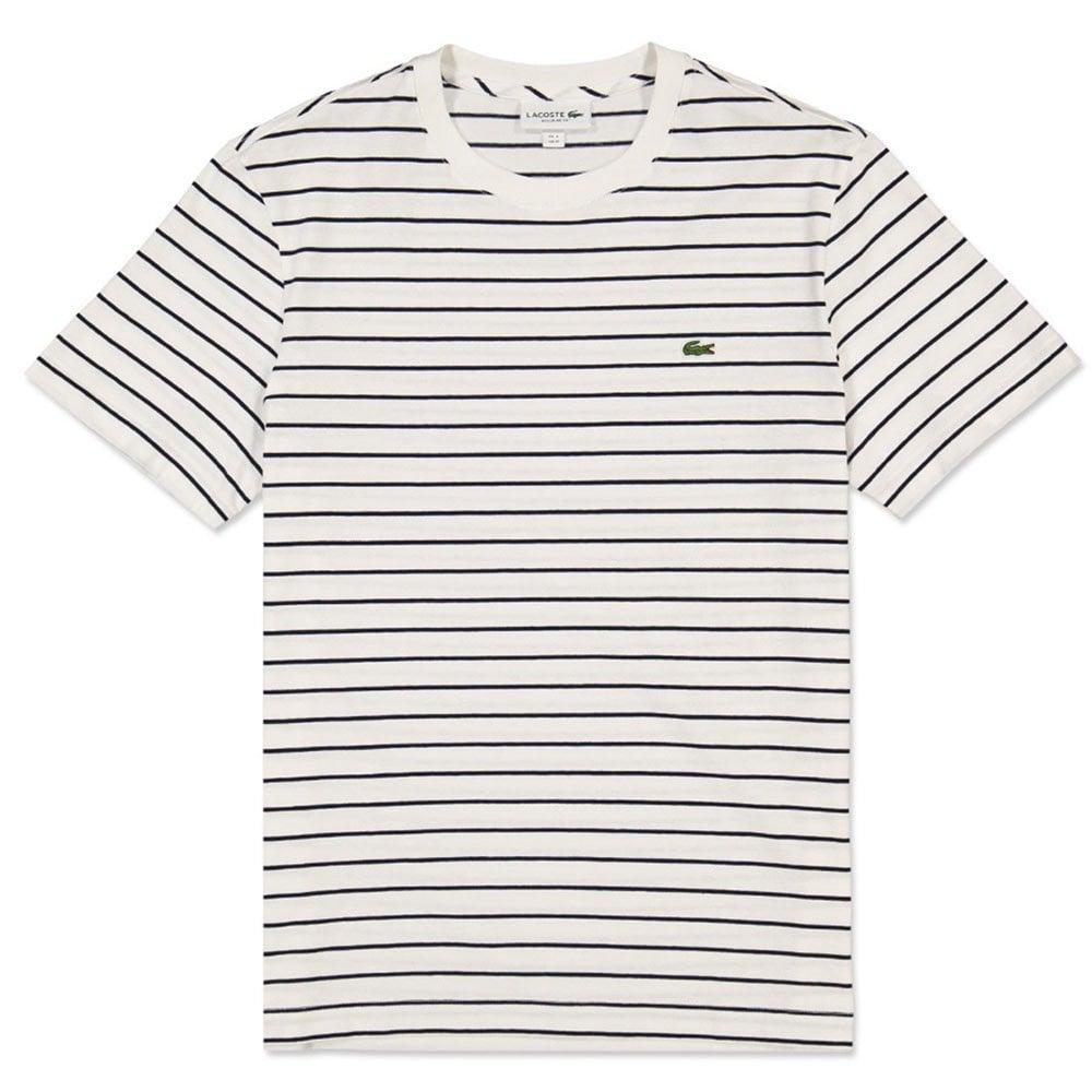 o rozsądnej cenie niesamowity wybór najtańszy Lacoste Striped T-Shirt in Flour/Navy