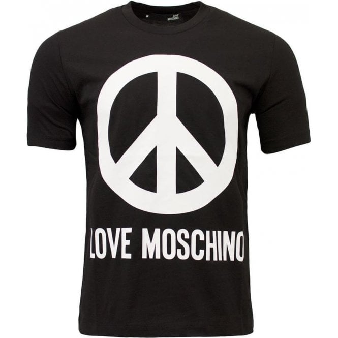hot sales first look 2018 sneakers Love Moschino Love Moschino Core Peace Logo T-Shirt in Black