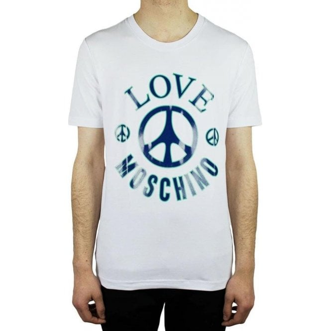 ac6bca6af44 Love Moschino  Moschino Big Peace T-Shirt in White  Chameleon Menswear