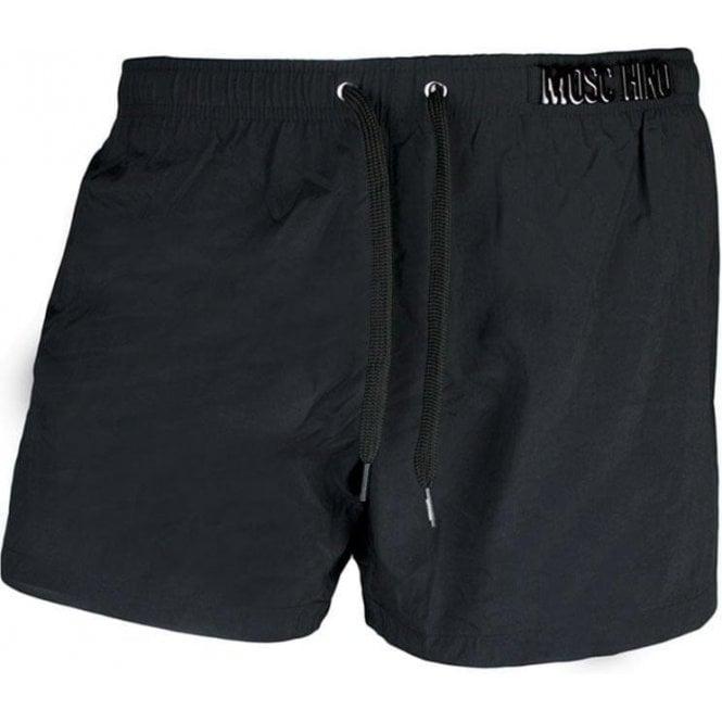 aacba97655b79 Moschino Swim |Moschino Swim Metal Badge Swim Shorts in Black ...