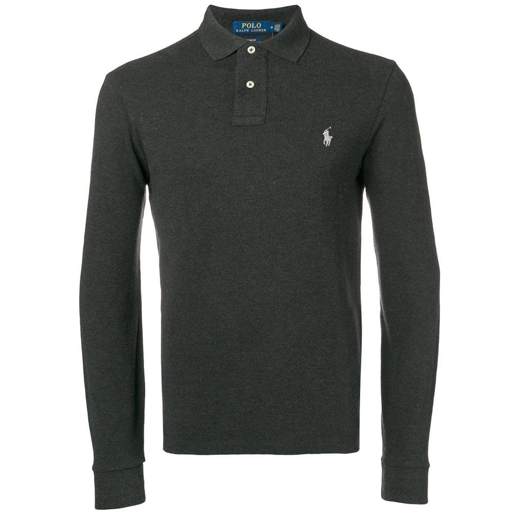 dc5eb63996049 Long Sleeve Slim Fit Polo in Granite