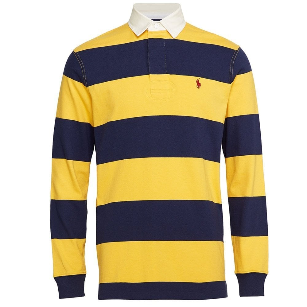 Long Sleeve Striped Rugby Polo Shirt d60a133a9
