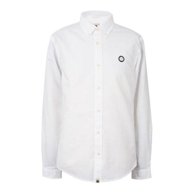d2cf27a50664 Pretty Green|Pretty Green Long Sleeved Oxford Shirt Oldbury in White ...