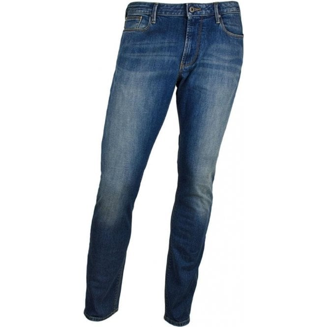 "Armani Jeans J06 Slim 34"" Long Leg Jeans in Mid Wash"