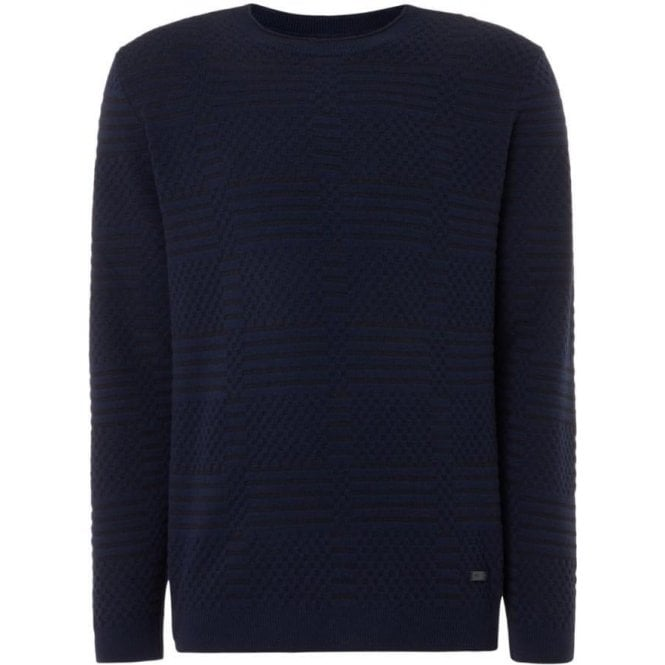 Armani Collezioni Knitted Sweatshirt in Navy