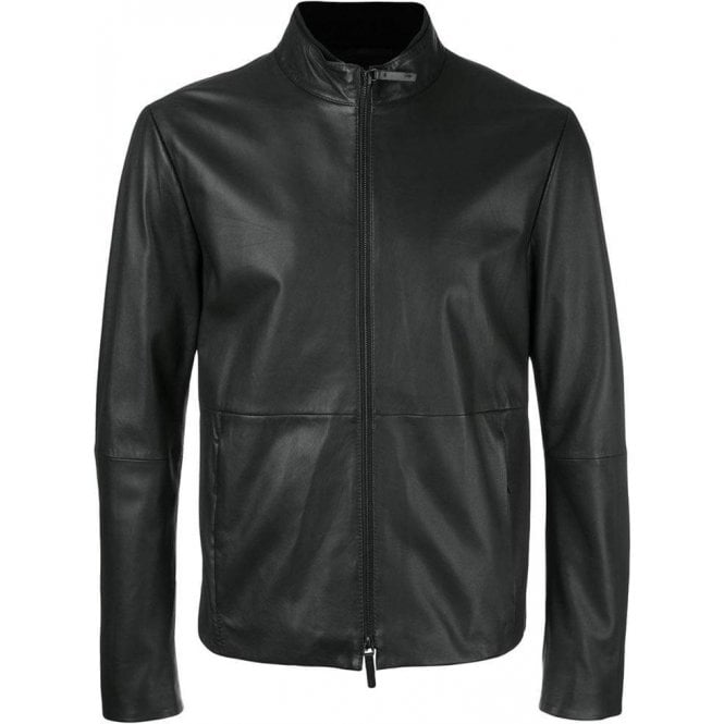 Armani Collezioni Leather Jacket in Black