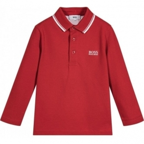 Boss Kids Long Sleeve Polo in Red