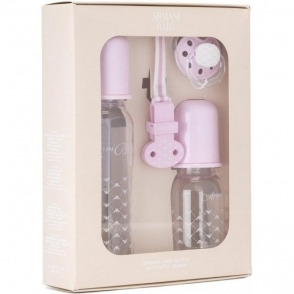 Armani Junior Bottles And Dummy Set in Pink