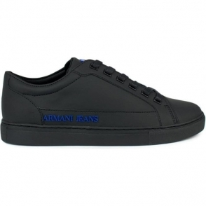 Armani Jeans Blue Logo Trainers in Black