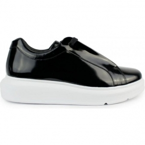 Armani Jeans Shiny High Sole Trainers in Black