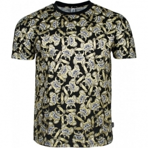 Moschino Swim Bear All-Over Logo T-Shirt in Black