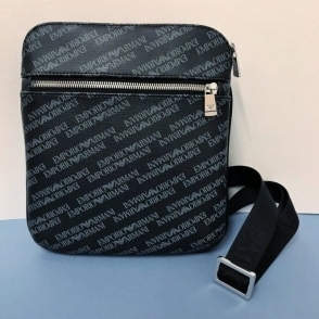 Emporio Armani Logo Print Pouch Cross Body Bag in Black