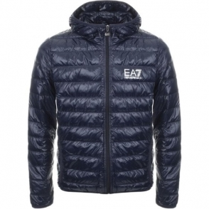 Ea7 Quilted Hooded Jacket in Navy