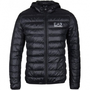 Ea7 Quilted Hooded Jacket in Black