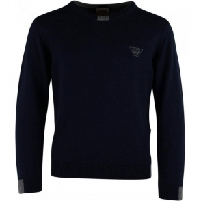 Armani Junior 4-10 Years Pullover Knitwear in Navy