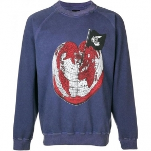 Vivienne Westwood Earth Heart Logo Print Sweatshirt in Navy