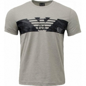 EA7 Logo Chest T-Shirt in Light Grey