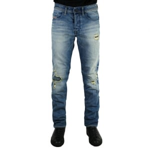 "Diesel Buster Rip 32"" Regular Leg Jeans in Mid Wash"