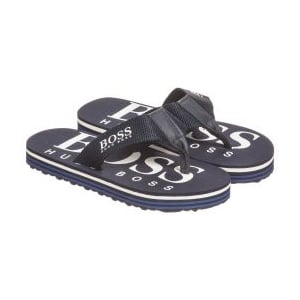 Boss Kids Logo Flip Flops in Navy