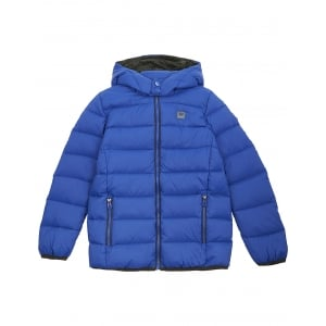 Armani Junior Woven Down Coat in Blue