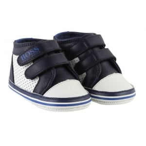 Boss Kids Newborn Trainers in Navy