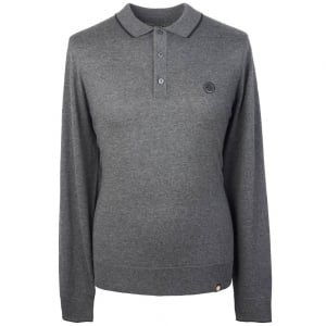 Pretty Green Long Sleeve Knitted Polo Shirt in Dark Grey