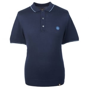 Pretty Green Knitted Tipped Polo Shirt in Navy