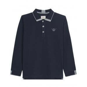 Armani Baby Grey Tips Polo Top in Navy