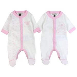 Armani Junior Baby Grow Gift Set in White and Pink