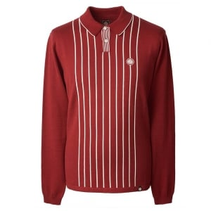 Pretty Green Striped Knitted Polo Top in Red