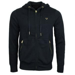 True Religion Gold Detail Hoodie in Black