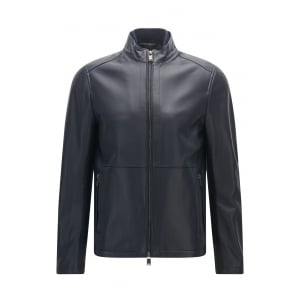 Nabino Leather Jacket in Navy