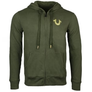 True Religion Gold Print Sweatshirt in Green