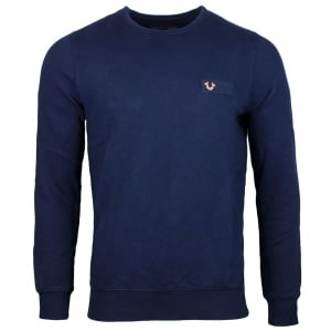 True Religion Metal Horseshoe Logo Sweatshirt in Navy