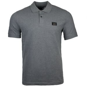 Love Moschino Metal Crest Logo Polo Shirt in Grey