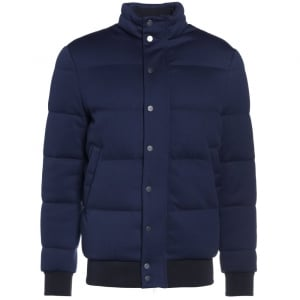 Button Puffer Coat in Navy