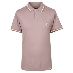 Pretty Green Tipped Pique Polo Shirt in Plum