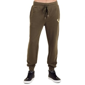 True Religion Gold Print Jogging Bottoms in Green