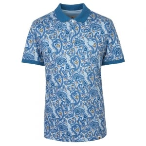 Pretty Green Paisley Polo Shirt in Blue