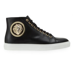 Versus Versace Gold Buckle Trainers in Black