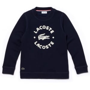 Lacoste Kids 2 Years Towel Print Sweatshirt in Navy