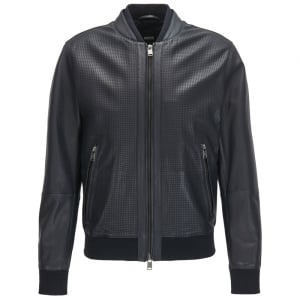 Gerroy Leather Jacket in Navy