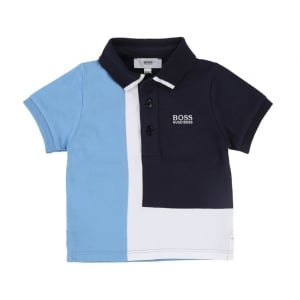 12-18 Months Polo Shirt in Sky Blue and Navy