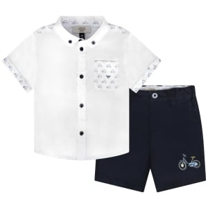 6 Months - 3 Years Shirt and Shorts Bike Set in White