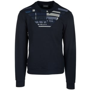 Emporio Armani Stitch Chest Sweatshirt in Navy