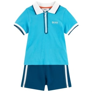 2-3 Years Zip Up Polo and Shorts in Turquoise