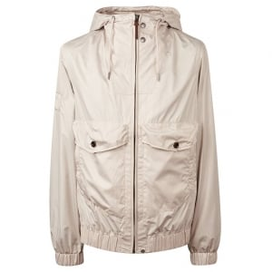 Zip Through Jacket in Beige