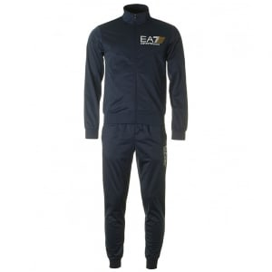 Silk No Hood Tracksuit in Navy