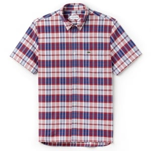 Lacoste Red and Blue Check Shirt in Red