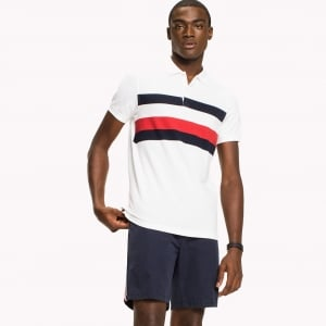 Tommy Hilfiger Red Stripe Polo Shirt in White